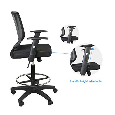Eclife Office Chair Black Ergonomic Mesh Support Computer Chair Comfort Adjustable Tall Standing Swivel Chair With Foot Rest Bar Chair Armchair