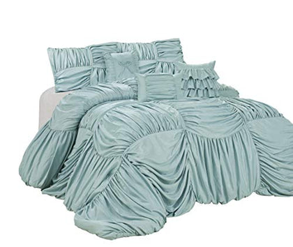Hig 7 Piece Comforter Set King-Microfiber Fabric Full Square Ruffles-Valentinus Bed In A Bag-Soft, Hypoallergenic,Fade Resistant-1 Comforter,2 Shams,3 Decorative Pillows,1 Bedskirt (Blue, King)