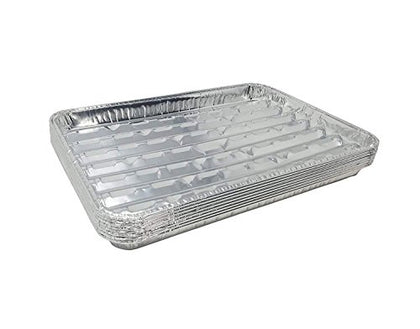 Disposable Aluminum Broiler Pans  Good For Bbq, Grill Trays  Multi-Pack Of Durable Aluminum Sheet Pans  Ribbed Bottom Surface - 13.40  X 9  X 0.85