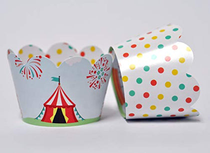 Carnival Circus Cupcake Wrappers For Kids Birthday Parties, Baby Showers, And School Events. Set Of 24 Reversible Cute Circus Scene To Pastel Polka Dots Cup Cake Holder Wraps. Coral, Teal, Yellow