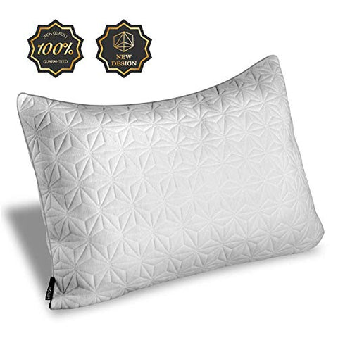 Hnos Shredded Memory Foam Pillow Washable Removable Cover - One Side Cooling Cover Suitable Both Summer Winter - 20 X 30 - Queen Size
