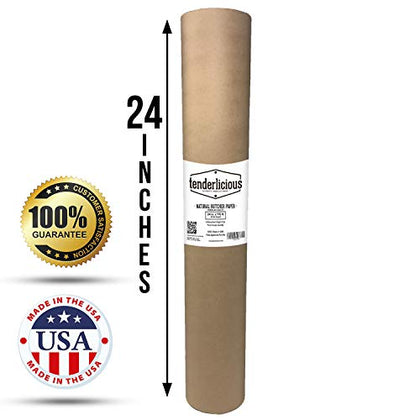 Brown Butcher Kraft Paper Roll - 24  X 175 (2100) Food Wrapping Paper For Beef Briskets - Usa Made - All Natural Fda Approved Food Grade Bbq Meat Smoking Paper - Unbleached Unwaxed Uncoated Sheet