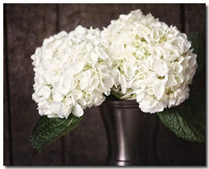 Rustic Country Home Decor Cream Hydrangeas In Bronze Vase Unframed 8X10  Print.