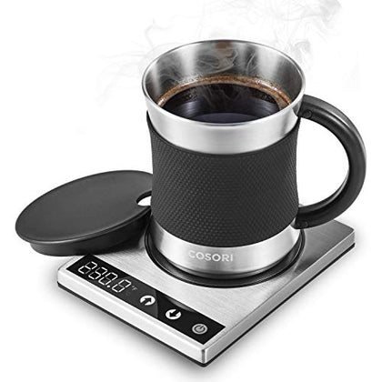 Cosori Coffee Mug Warmer &Amp; Mug Set,Electric 24Watt Beverage Cup Warmer For Desk Home Office Use,304 Stainless Steel 17Oz Mug W/ Lid,Touch Tech &Amp; Led Backlit Display,Ideal For Gift,Coffee,Tea, Hot Cocoa