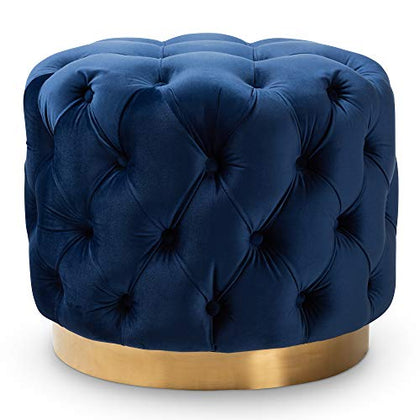 Baxton Studio 152-9376-Amz Ottomans One Size Royal Blue/Gold