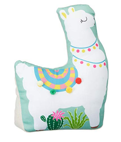 Whtie Llama Shaped Polyester/Sand Door Stop With Green Background, 11.02
