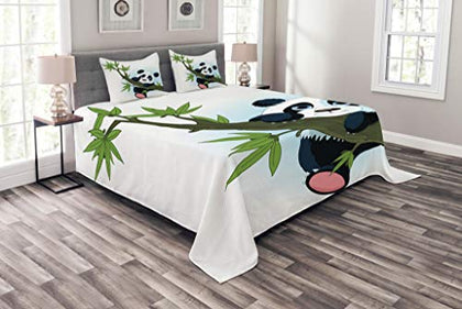 Lunarable Panda Coverlet Set Queen Size, Panda Climbing On A Tree Springtime Oriental Asian Jungle Wildlife Nature Home, Decorative Quilted 3 Piece Bedspread Set With 2 Pillow Shams, Green Black White