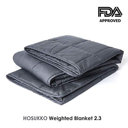 Hosukko Weighted Blanket Adult 60''X80'', 25Lbs For 220-280Lbs Individual, Queen Size Bed Weighted 2.0 Heavy Blanket 100% New Cotton With Glass Beads Grey For Adults, Youths