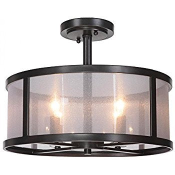 Danbury 4 Light 18 Inch Matte Black Pendant Ceiling Light Ou Semi Flush Mount In Organza Wrapped (Black)