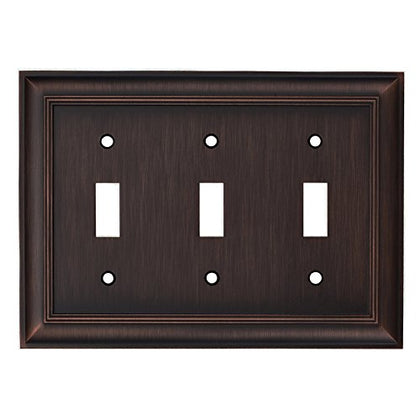 Allen + Roth 3-Gang Oil-Rubbed Bronze Standard Triple Toggle Metal Wall Plate