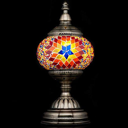 Mosaic Lamp-Handmade Turkish Mosaic Table Lamp With Mosaic Lantern,Bronze Base,Unique Table Lamp For Room Decoration(Red)-A5
