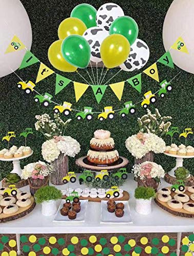 Baby Shower Decorations For Boy,John Deere,Farm Birthday Party Supplies, Tractor Party Supplies, 12 Pc Tractor Cupcake Topper,3 Cow Print Balloons Plus 3 Yellow And 3Green, Its A Boy Tractor Banner