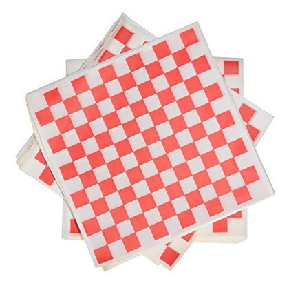 1000 Sheets Of Red And White Checkered, Grease - Resistant, Basket Liners / Deli Paper