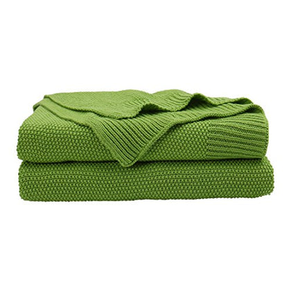 Piccocasa 100% Cotton Knit Throw Blanket,Solid Lightweight Decorative Sofa Throws,Soft Grass Green Knitted Throw Blanket For Sofa Couch,50  X 60