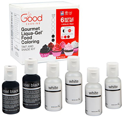 Food Coloring Liqua-Gel - 6 Bottle Black And White Shade And Tint Kit  Liqua-Gel Kit In .75 Fl. Oz. (20Ml) Bottles