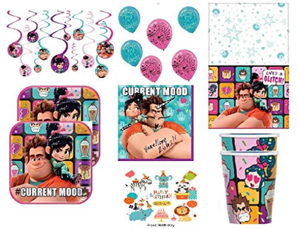 Disney Wreck-It Ralph 2 'Ralph Breaks The Internet' Birthday Party Supply Pack (Lunch Plates, Napkins, Cups, Table Cover, Swirl Decorations) For 8 Guest