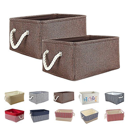 Queenie Collapsible Fabric Storage Basket Home Organizer Available In Different Colors And Sizes (Brown, 35 X 25 X 17 Cm (13.75 X 9.75 X 6.75 Inch))