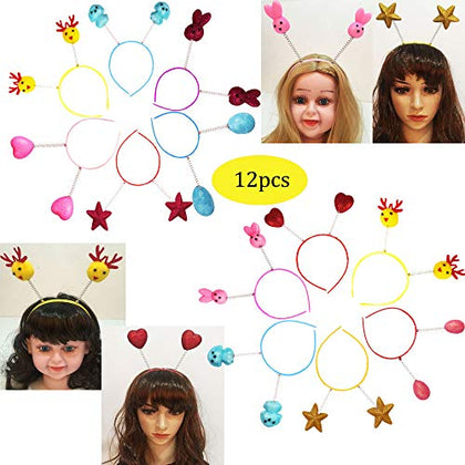 Glitter Antenna Head Boppers In Assorted Design Rainbow Shapes Novelty Headbands Best For Christmas Birthday Funny Party For Kids And Adults-12Pcs
