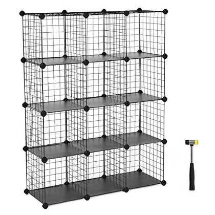 Songmics 12-Cube Metal Wire Storage Cube, Storage Shelves Organizer,Stackable Storage Bins, Modular Bookcase, Diy Closet Cabinet Shelf With Rubber Mallet 36.6  L X 12.2  W X 48.4  H, Black Ulpi34H