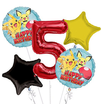 Pokemon Pikachu Happy Birthday Balloon Bouquet 5Th Birthday 5 Pcs - Party Supplies