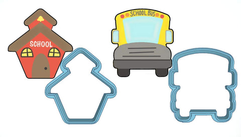 School Days Cookie Cutter Set - American Confections - School House, School Bus - Made In The Usa