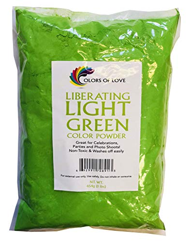 Colors Of Love Light Green Holi Color Powder - 1 Pound Bag - Ideal For Color Run Events, Bath Bombs, Youth Group Color Wars, Holi Events And More!