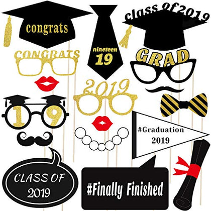 Tinksky 18 Pcs Graduation Photo Booth Props 2019 Graduation Photo Booth Props Glitter Party Favors Decoration Supplies
