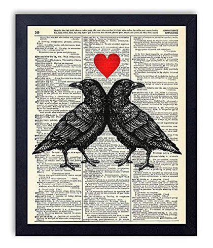 Crow Love Vintage Wall Art Upcycled Dictionary Art Print Poster 8X10 Inches, Unframed
