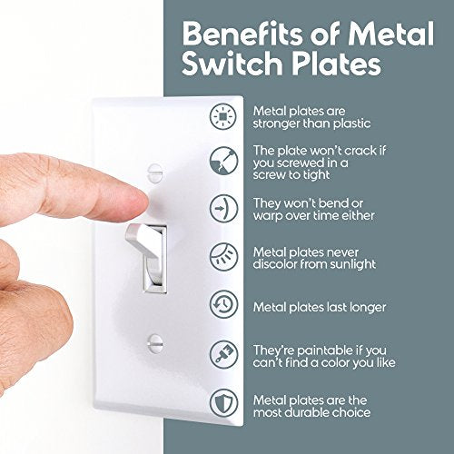 Logest Duplex Wall Plates - Metal - Steel - Home Electrical Outlet Cover -  Port Replacement Receptacle - Faceplates Covers 1-Toggle 1-Decora , White