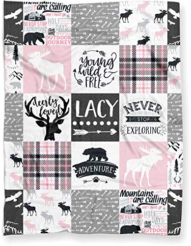Personalized Moose Plush Baby Blanket Woodland Boho For Girl (Soft Polyester Fleece - 30  X 40 )
