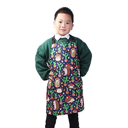 Missowl Adjustable Home Kids Artists Aprons With Pockets Cute Animal Print Child Kitchen Bib Aprons For Boys And Girls Cooking Baking Painting Hedgehog Cactus