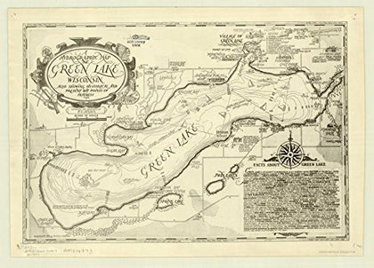 Historic Map | Green Lake, Wisconsin 1937 | A Hydrographic Map Of Green Lake, Wisconsin : Also Showing Historical And Present Day Points Of Interest | Antique Vintage Reproduction 24In X 16In
