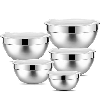 Stainless Steel Mixing Bowls With Lids By Songno (Set Of 5) Nesting Storage Bowls Polished Mirror Finish For Healthy Meal Mixing Cooking Supplies 1.5-2.6-3.4-4.2-7.1Qt