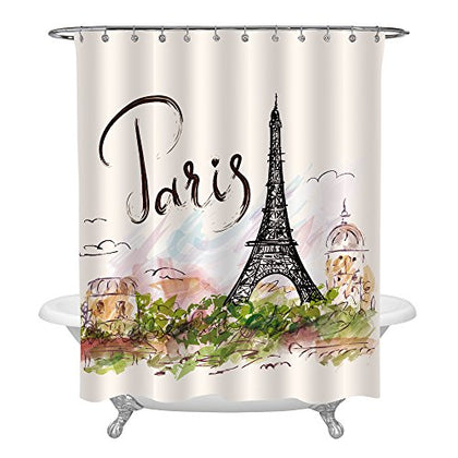 Mitovilla Watercolor Urban Outfitters Decor Shower Curtain, Hand Drawn Colorful Paris Eiffel Tower And Architecture City Scenery Bathroom Shower Decorations, 72  X 72  For Standard Bath Tub