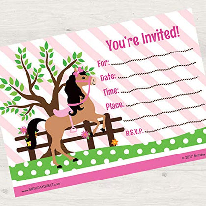 Birthday Direct Playful Pony 8Ct Fill-In Invitations