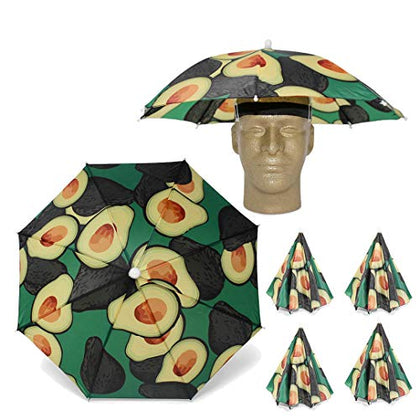 Looney Zoo || Umbrella Hat || Unique Colorful Umbrella Hats - Easy Elastic Fitting Umbrella Hat For Adults &Amp; Kids (The Avocado, 1 Umbrella Hat)