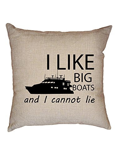 Hollywood Thread I Like Big Boats And I Cannot Lie Marine Love Decorative Linen Throw Cushion Pillow Case With Insert