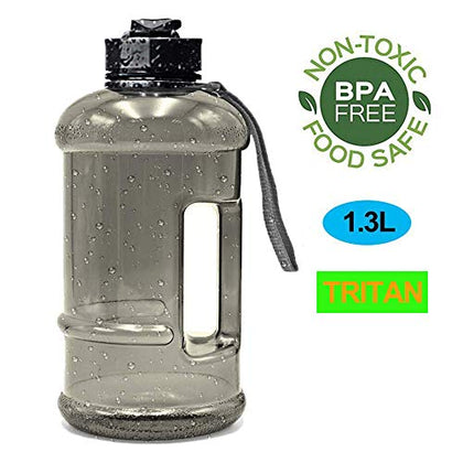 Water Jug 2.2L Large Sport Water Bottle Big Capacity Leakproof Container Bpa Free Plastic With Carrying Loop Fitness For Camping Training Bicycle Hiking Gym Outdoor (Tritan-1.3L-Transparent Black)