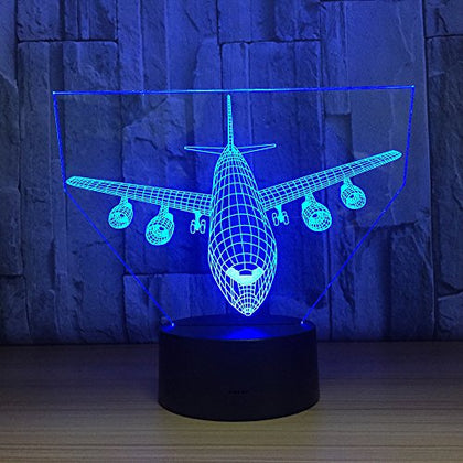 Airplane Night Light 3D Optical Illusion Lamp Ykl World Touch 7 Color Changing Bed Room Table Desk Decor Lamps Christmas Birthday Gifts For Kids, Boys, Girls, Plane Lover