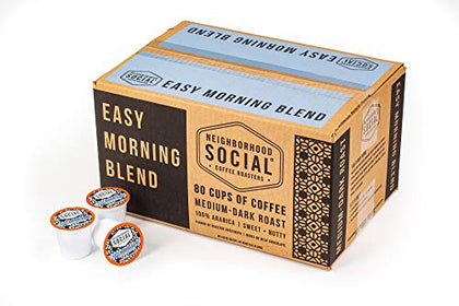 Neighborhood Social, Easy Morning Blend Medium Dark Roast Gourmet Coffee, 80 Count Single Serve Cups