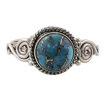 Novica Reconstituted Turquoise .925 Sterling Silver Spiral Cocktail Ring 'Blue Attunement'