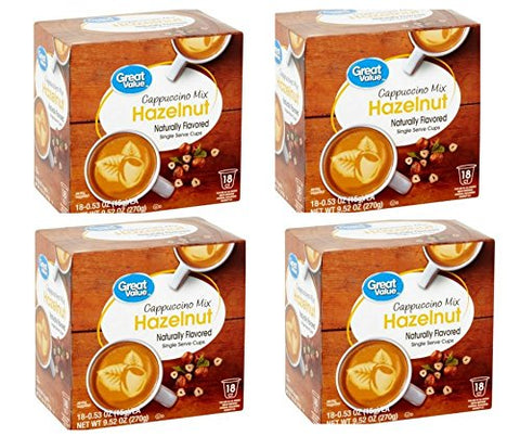 Great Value Hazelnut Cappuccino Mix Single Serve Cups, 0.53 Oz,18 Count ()
