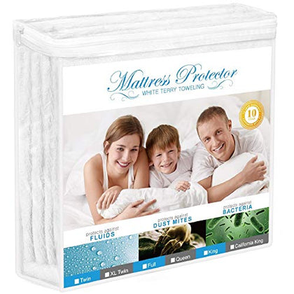 Adoric Mattress Protector, King Size Waterproof Mattress Protector, Premium Hypoallergenic Mattress Cover Cotton Terry Surface-Vinyl Free