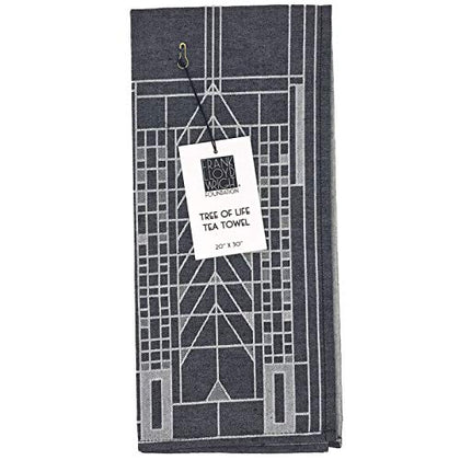 Kaf Home Frank Lloyd Wright Woven Jacquard Tea Towel 20 X 30-Inch 100-Percent Cotton (Tree Of Life)
