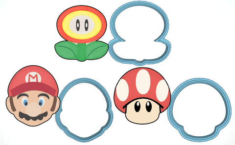 Super Mario Bros Cookie Cutter Set - American Confections - Luigi, Mushroom, Plant - Made In The Usa