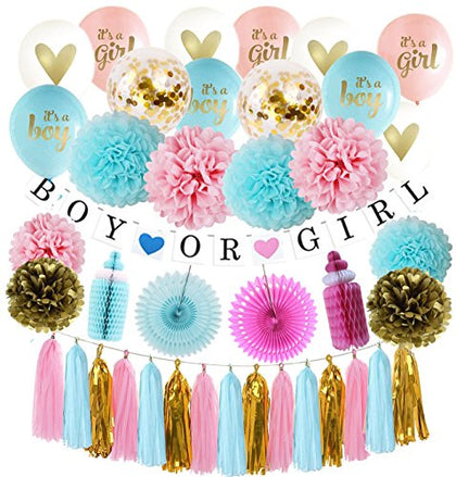 Gender Reveal Party Supplies - Baby Shower Decorating Kit, Gender Reveal Balloon, Boy Or Girl Banner, Tissue Paper Pom Pom, Paper Fans,Baby Bottles,Tassel Garland And Balloons