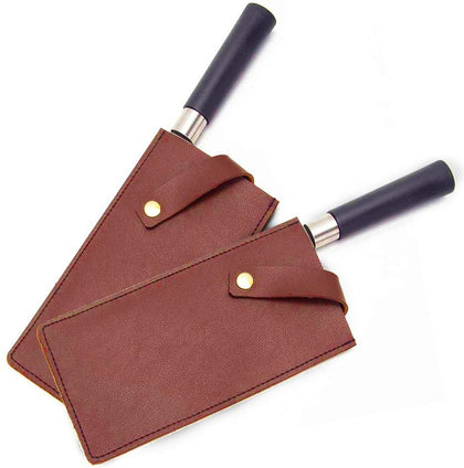 Fushida 2 Pcs Meat Cleaver Sheath, Leather Knife Protector Cover, Waterproof Wide Knife Carriers, Durable Butcher Chef Knife Edge Guards, Heavy Duty Cleaver Guard Shell(Fgj765) (Red Brown)