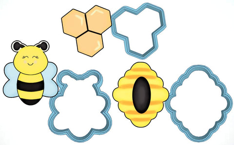 Bumble Bee Cookie Cutter Set - American Confections - Geometric Honey Comb, Hive, Bee - Made In The Usa