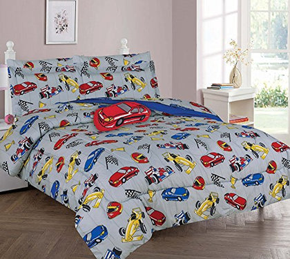 Wpm Race Car Red Blue Print Bedding Set Choose From Full/Twin Comforter Or Bed Sheets Or Window Curtains Panels For Kids/Girls/Boys Room (Full Comforter)