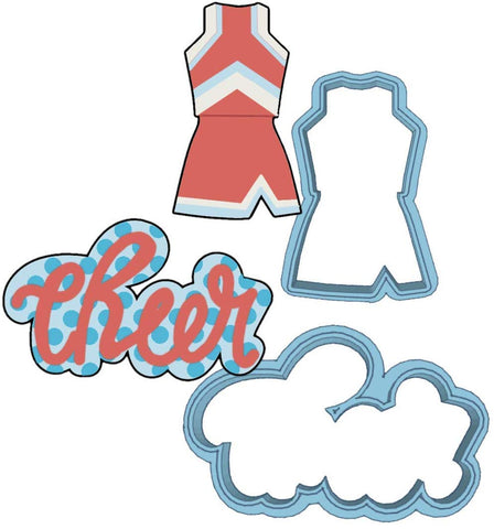 Cheerleading Cookie Cutter Set - American Confections - Cheer, Cheerleader Uniform -Made In The Usa